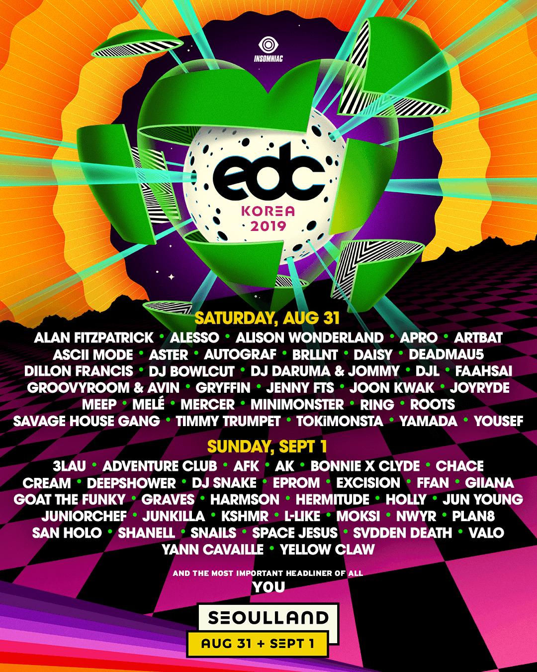 EDC Korea lineup