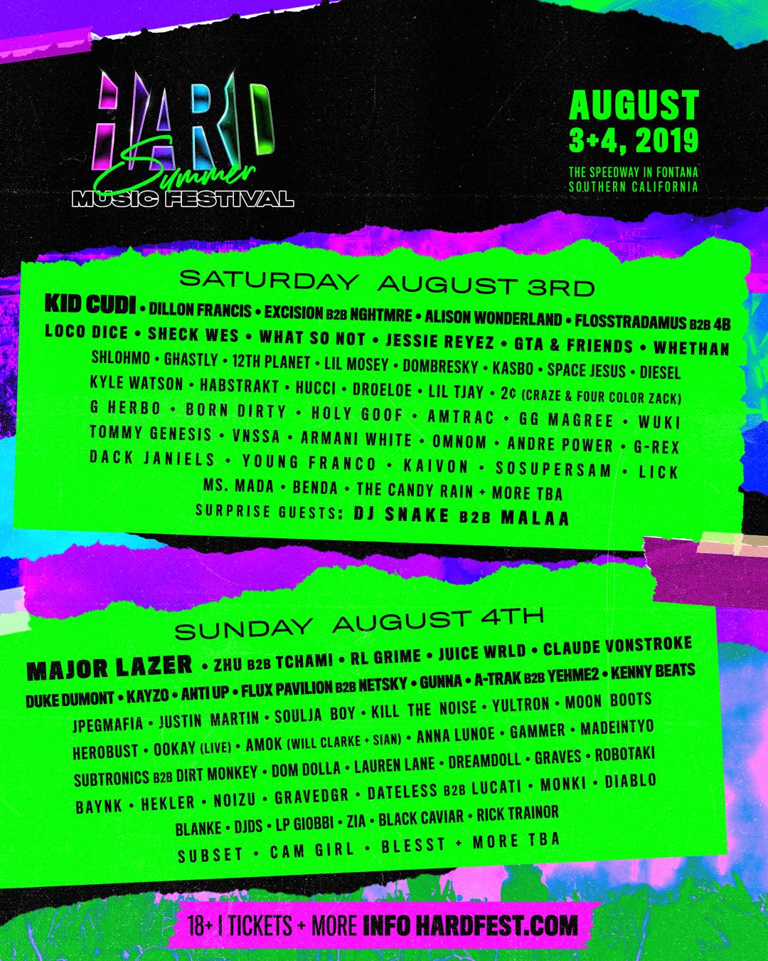 Lineup – HARD Summer 2019