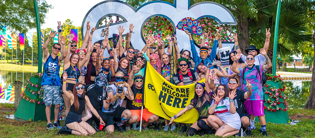 """Headliners with """"All Are Welcome Here"""" flag"""