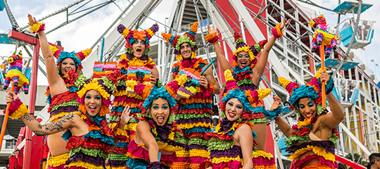 Women dressed as piñatas
