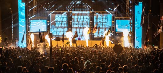 nocturnal stage with pyrotechnics