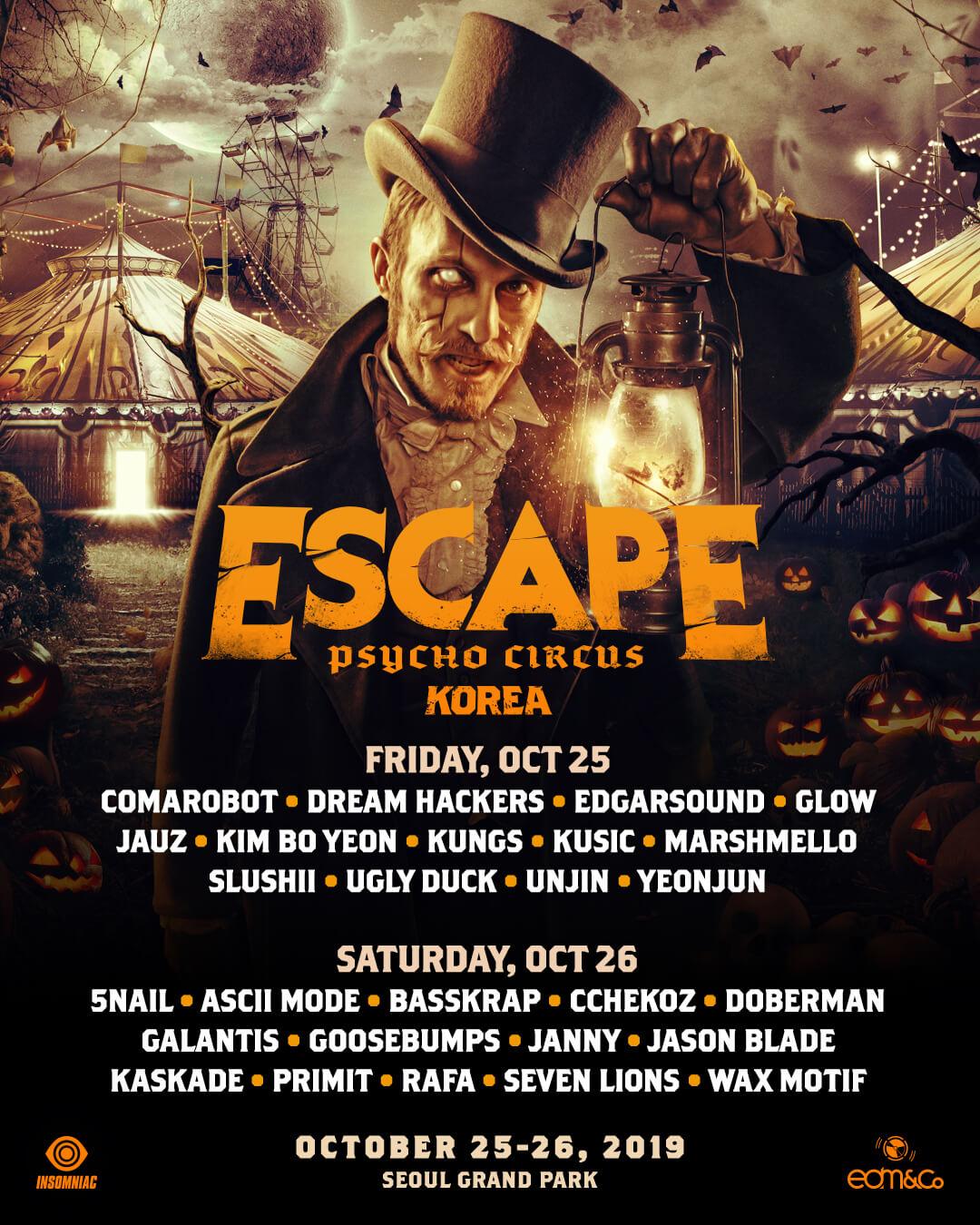 Escape Korea full lineup