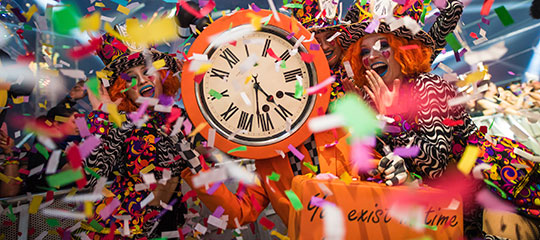 Clock and confetti