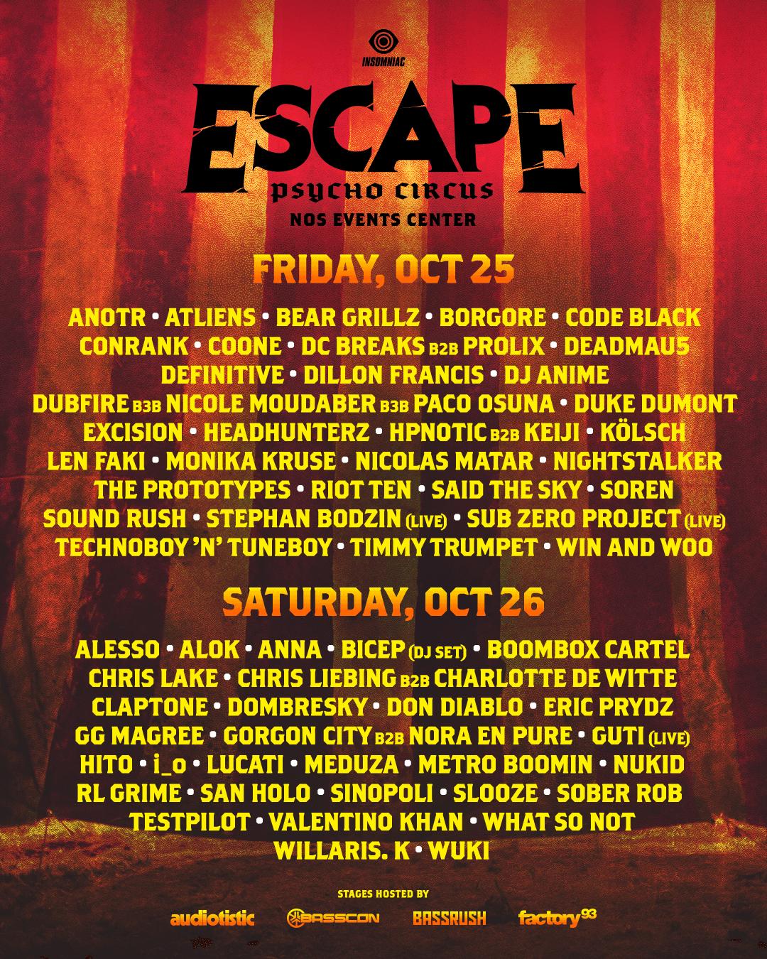 Lineup – Escape Psycho Circus 2019