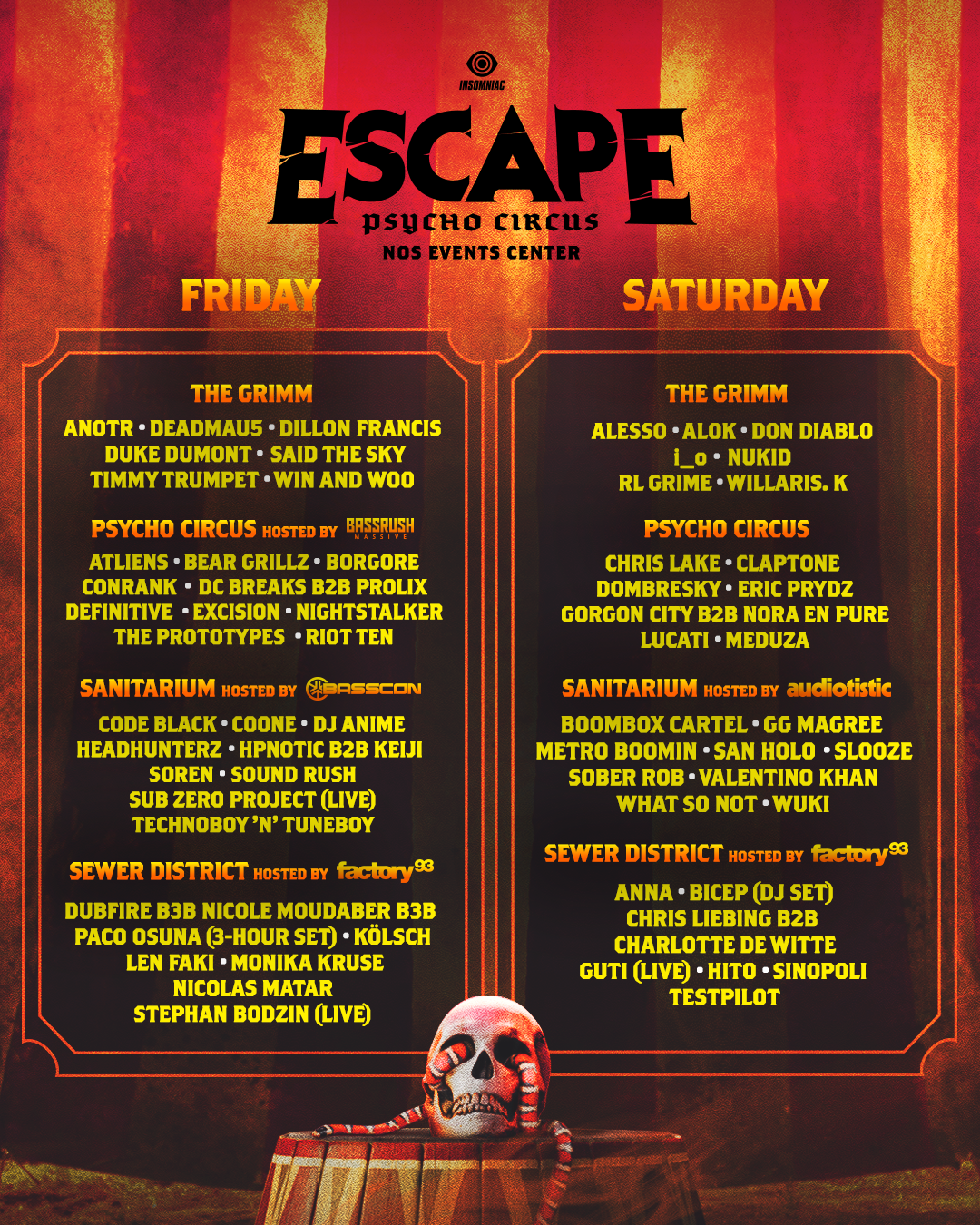 Escape line up by day by stage