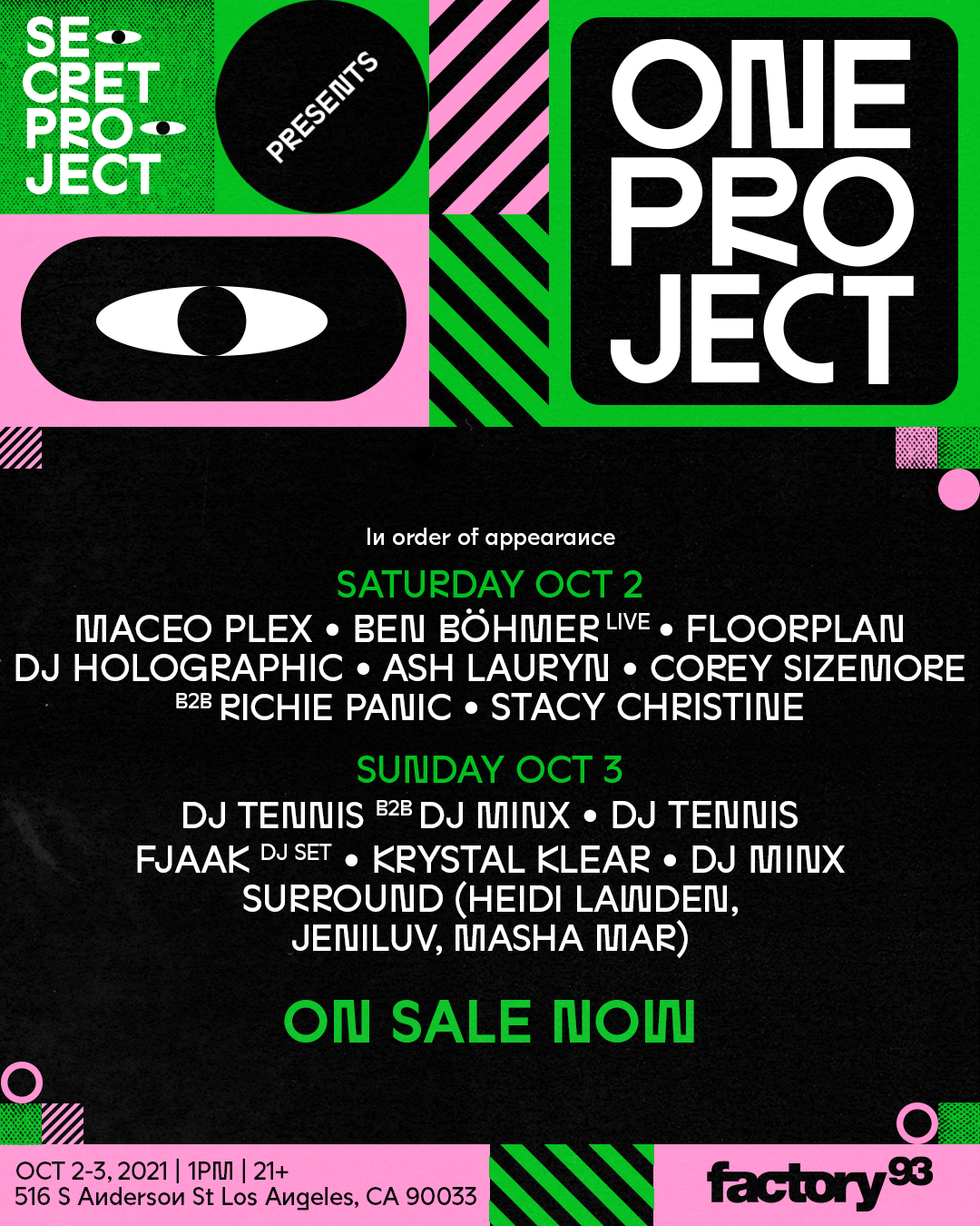 One Project lineup by day