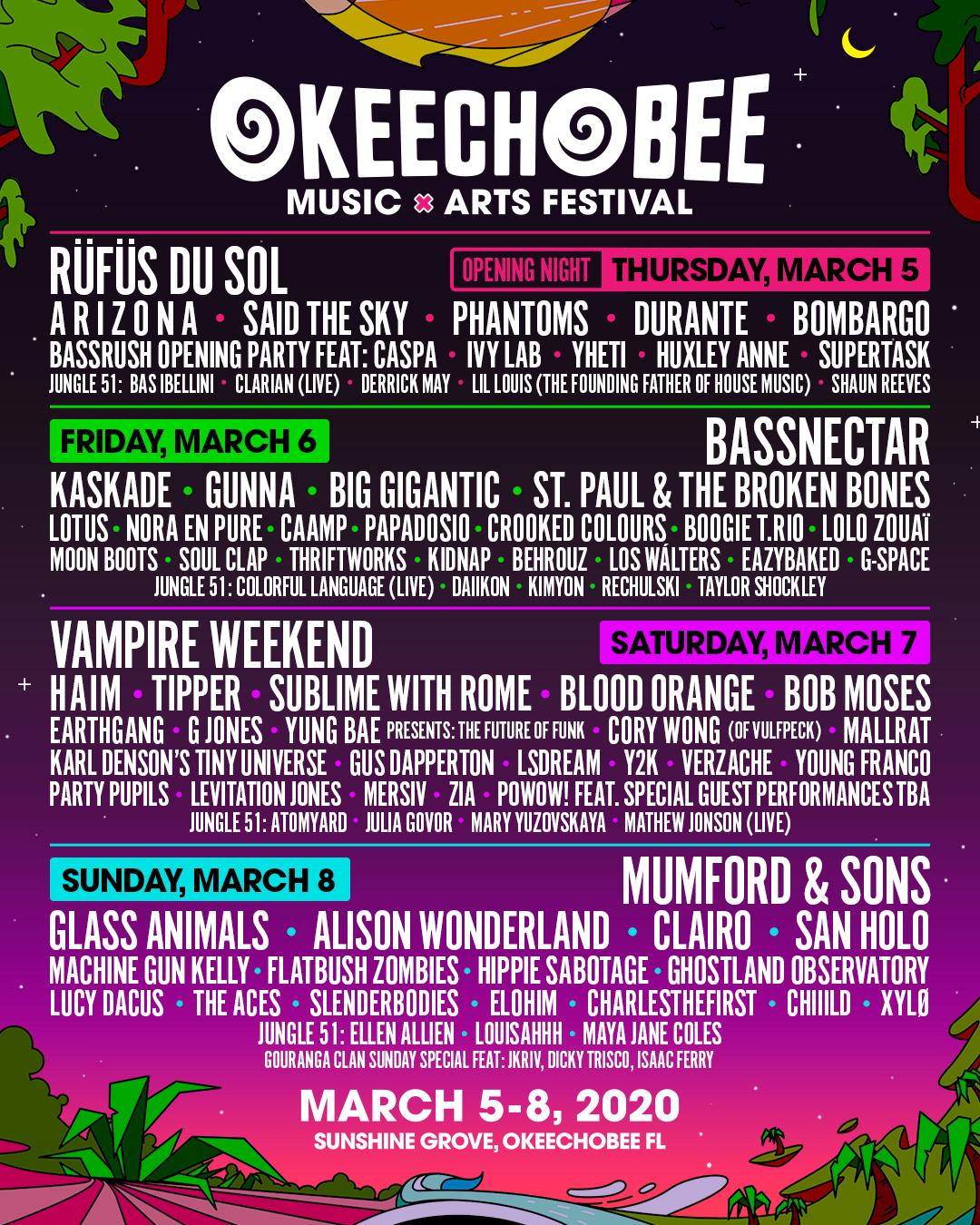 Okeechobee Music Festival 2020 Lineup.Lineup Okeechobee Festival
