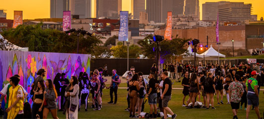 Headliners walking around LA Historic Park during HARD Day of the dead