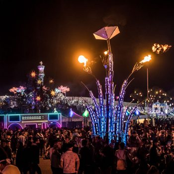 Glowing art installation and the Boombox Art Car at Beyond Wonderland SoCal 2016