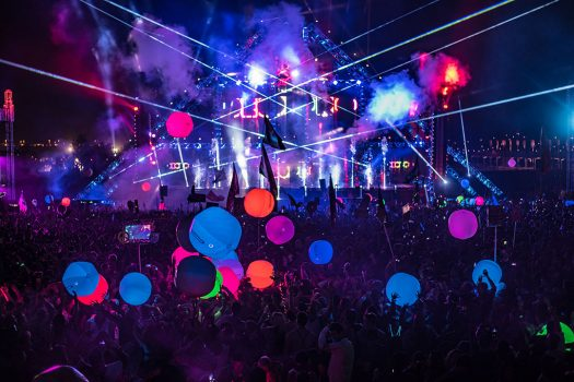 Glowing orbs float over the crowd at Beyond Wonderland SoCal 2016