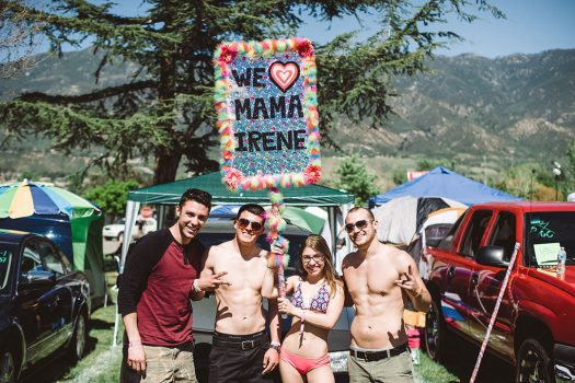 Campers with Mama Irene totem at Beyond Wonderland SoCal 2015