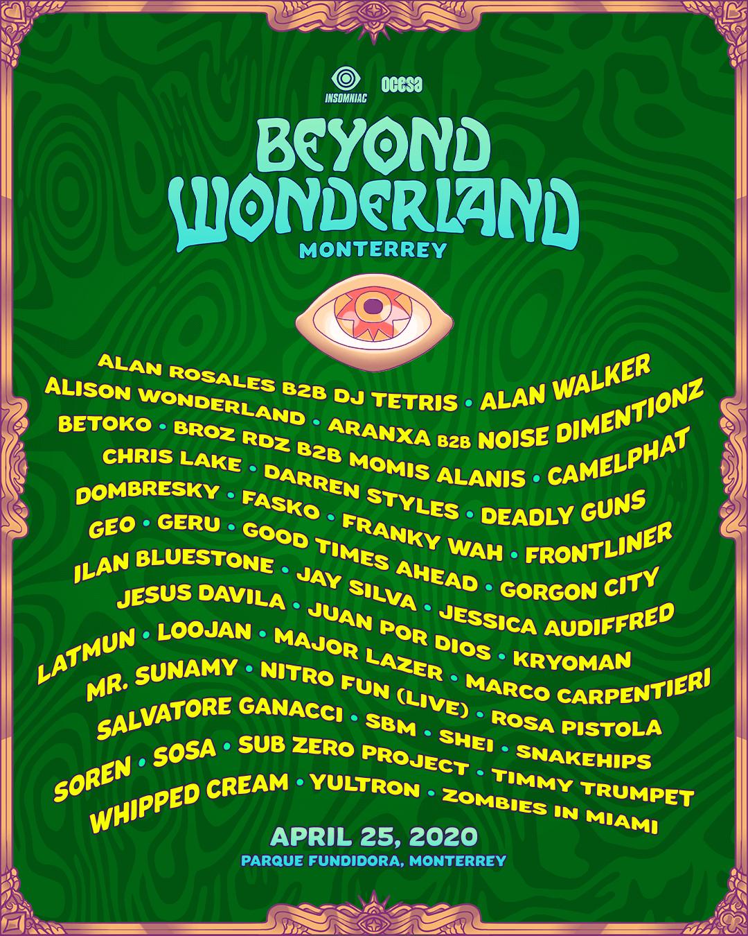 Beyond Wonderland Monterrey lineup