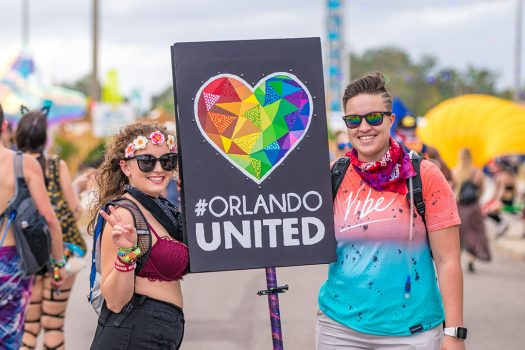 "Two Headliners with a ""#Orlando United"" totem"