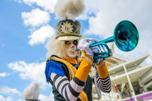 A Marching Majorette with a blue trumpet