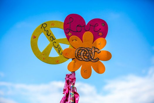 """Peace / love / EDC"" totem"