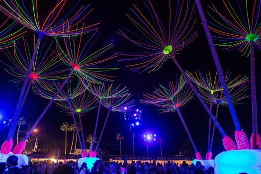 Glowing flower art installations