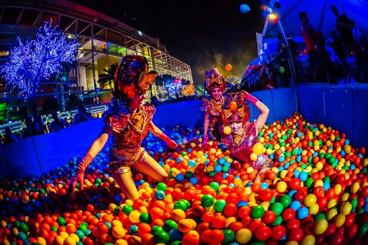 Costumed performers in the VIP ball pit