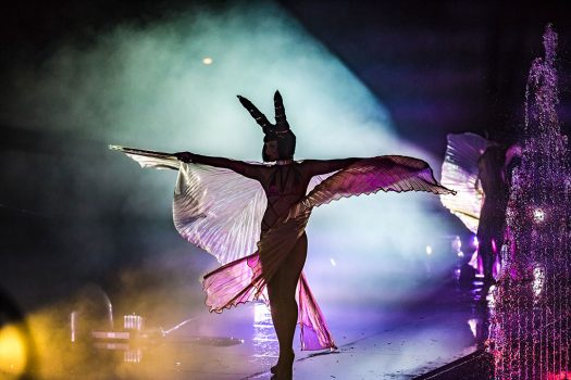 A costumed performer spreads her wings