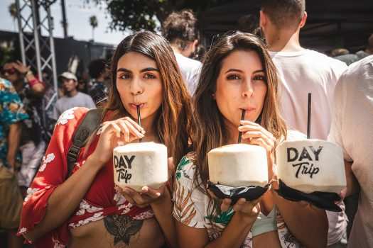 girls drinking coconut drink