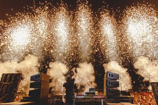 Pyro effects while a DJ performs