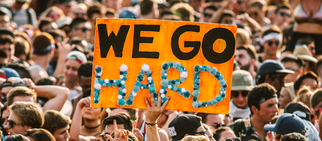 """We Go HARD"" sign"