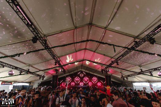 Fans under a tent