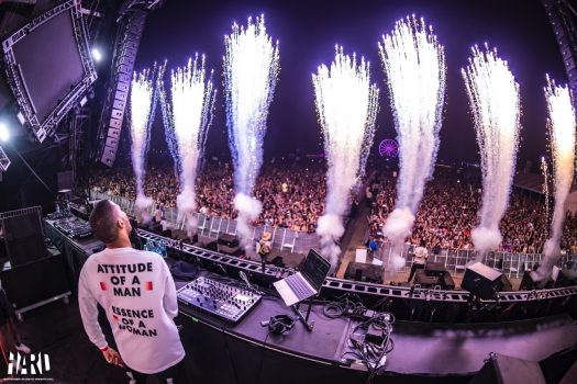 Fireworks seen from the DJ booth