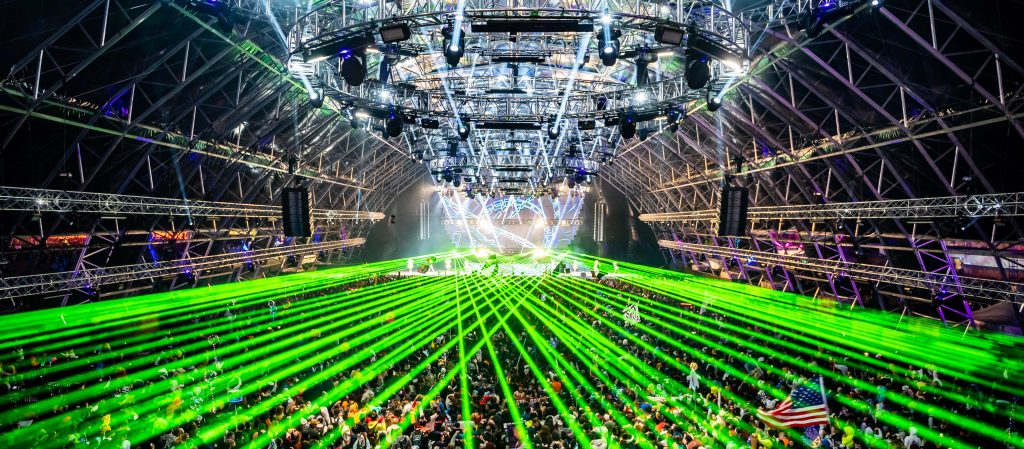 Stage with lasers