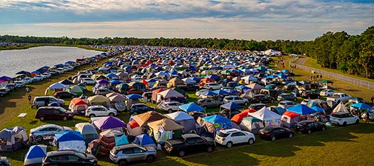 Cars and tents in campground