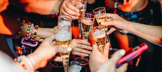 Friends toasting with champagne flutes